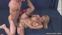 Big tit babe gets all holes filled