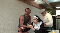 ... with threesome in hard fucked nun french Young