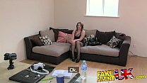 FakeAgentUK Promise of cash helps brunette take agents cock balls deep