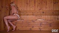 Serbian sauna lover Cherry Kiss sucks a Dick in...
