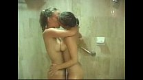 two hot girlfriends taking a shower