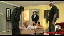 Kinky blonde babe Ivana double fucked by big bl...