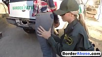 ts in hot outdoor threesome with border patrol agent
