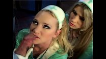 blonde nurses in latex lingerie and gloves fucking