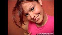 Auburn haired teen fuck dildo on toilet