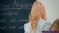 Schoolroom threesome with busty teacher and schoolgirl porn videos