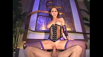 Brunette fucks in a shiny latex corset and fish...