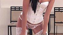 divinity masturbating wearing white thigh highs