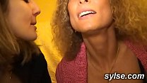 2 milfs sharing threesome in workshop before strapon s casting