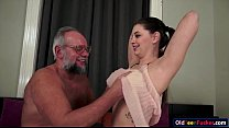 Cutie Angelina Brill gives head to a grandpa and rides cock porn videos