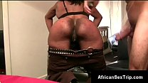 Hung withe perv warms booty African gf up for h...