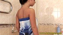 Teen brunette masturbating