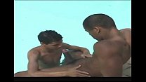 Muscled latino guy teaches his buddy how to suc...