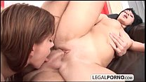 Three hot chicks take one big dick in the ass a...