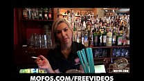 Gorgeous blonde bartender is talked into having sex at work porn videos