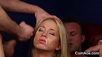 Wacky bombshell gets cumshot on her face swallo...