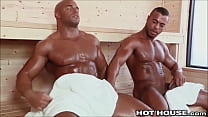 Big Sexy Beefcake Ebony Guys Fucking in the Ste...
