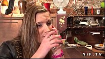 Sweet french brunette hard anal fucked in a bar