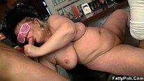 massive tits fatty swallows two cocks