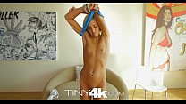 Tiny4K Petite blonde swallows and takes huge co...