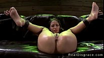 Blindfolded babe Jasmine Caro in bdsm rough fuc...