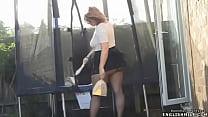Pantyhose upskirt British big butt wife in mini...