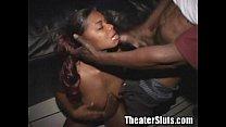 Ebony slut fucking off at the porn theater