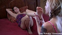 Sexy foot fetish fun with Bella and Sadie porn videos