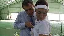 Young Fresh Brunette Taking Two Cocks At The Te...
