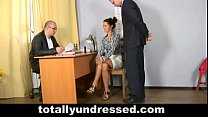 Secretary gets totally undressed during job interview thumbnail