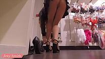 Jeny Smith flashing her seamless pantyhose whil...