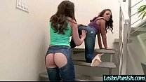 Mean Lesbian Use Sex Toys To Punish Hot Lez Gir...