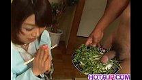 Mitsu Anno gets cock deepthroat and cum in mout...