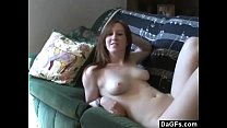 Horny slut haves fun on a couch and sucks my dick