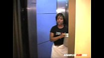 Ebony delivery girl letting the guys lick her thumb