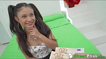 petite teen jade presley takes giant cock in her tiny latina pussy