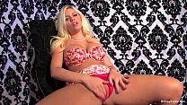 Britney Amber Red Flower Bikini Solo