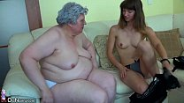 big fat granny with a cute girl