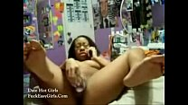 Nerd ugly black slut playing her pussy with a p...