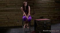 Tied up in rope brunette on her knees throat fu...