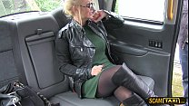 full bosomed woman gets pussy licked and fucked hard in the taxi