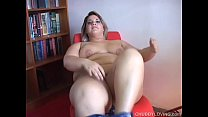 Beefy blonde beauty fucks her fat wet pussy for...