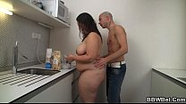 Horny dude drills this hot fatty at the kitchen