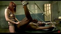 Redhead ties up and whips a black man