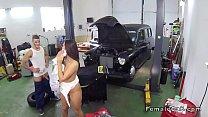 Auto mechanic bangs beautiful cab driver