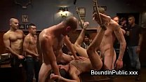 Bound gay groped and gangbang fucked in crowded...