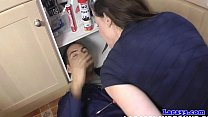 Milf facialized after draining plumbers pump - download porn videos