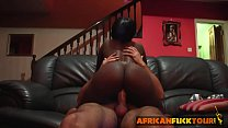 African chick talked into riding white cock on ...