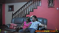 African chick talked into riding white cock on couch porn videos