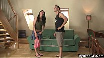 cute brunette girl cheats with his brother